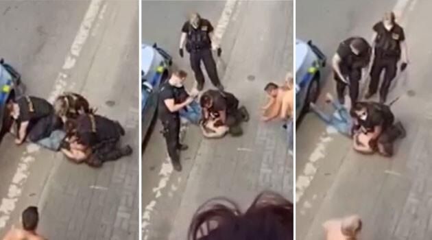 Снимки от видеото, което беше разпространено в социалните мрежи в неделя, 20 юни 2021 г. Млад мъж от ромски произход е починал след намесата на полицията. (Снимка: Facebook, колаж: Romea.cz)